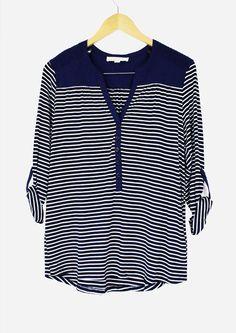 Monica Navy Stripe Top