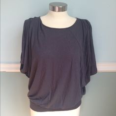 Express dark gray top Very comfy top! Sleeveless dark gray top - extra fabric around arms for a loose look. Band at bottom for a nice fit! Can dress this up or down! Express Tops