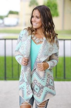 Buy this cute Mint and Gray Aztec Cardigan from Saved by the Dress Online Boutique. Aztec print cardigan that is always in style. Boutique Dresses, Boutique Clothing, Outfits With Grey Cardigan, Aztec Print Cardigan, Womens Trendy Tops, Trendy Fashion, Womens Fashion, Cute Tops, Online Boutiques