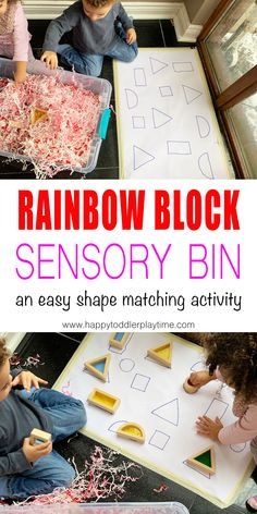 Shape Match Sensory Bin - HAPPY TODDLER PLAYTIME Shape Match Sensory Bin is a fun sensory bin using shredded paper! It's a great way to learn and practice shapes with your toddler or preschooler! Rainbow Activities, Sensory Activities Toddlers, Sensory Bins, Infant Activities, Preschool Activities, Sensory Play, Shape Activities, Sensory Rooms, Sensory Table