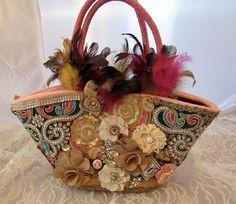 Shabby Chic Purse, Vintage Romantic Handbag, Boho Chic Straw Purse, Chic Glamour Bag, Victorian inspired Handmade Purse by BohoChicArtisans on Etsy