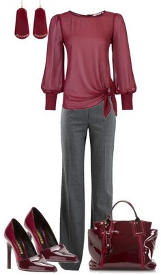 "Very pretty combo for work. Basic, classic, and feminine. """"Berry"" Business Casual"" by strawberrybrownie on Polyvore"