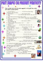 Past simple vs present perfect worksheet - Free ESL printable worksheets made by teachers Easy English Grammar, English Grammar Exercises, Teaching English Grammar, English Grammar Worksheets, Grammar And Vocabulary, Grammar Lessons, English Lessons, Learn English, Present Perfect Tense Exercises