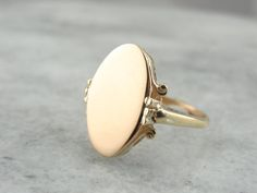 1950's Filigree Ladies Fine Gold Signet Ring by MSJewelers on Etsy
