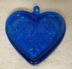 Blue Heart Shaped Glass Christmas Ornament - Cobalt - Window Hanging - Anytime