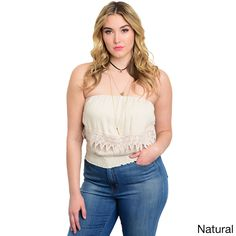 Shop the Trends Women's Strapless Gathered Neckline and Scalloped Hem Plus-size Crop Top