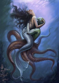 I love all fantasy and mythical stuff, but my favorite ones are mermaids.So this is a collection of mermaid images I've been picking all over the internet. Fantasy Creatures, Mythical Creatures, Sea Creatures, Fairytale Creatures, Siren Mermaid, Mermaid Fairy, Fantasy Mermaids, Mermaids And Mermen, Dark Fantasy