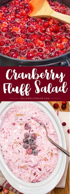 This Cranberry Fluff Salad is the perfect side dish or dessert for the holidays! Cranberry Fluff, Cranberry Salad, Cranberry Recipes, Cranberry Dessert, Thanksgiving Recipes, Holiday Recipes, Christmas Recipes, Christmas Foods, Christmas Ideas