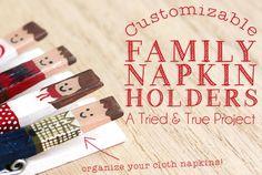 Customizable family napkin holders