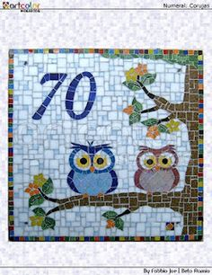 """Placa Numeral em mosaico """"Casal de corujas"""""""