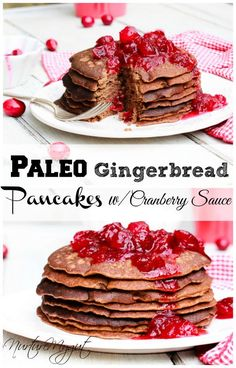 Paleo Gingerbread Blender Pancakes with homemade Cranberry Sauce. Gluten free, dairy free, natural and Paleo. Made with coconut flour. Simple and quick recipe.