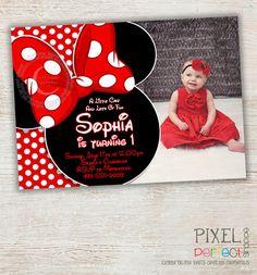 Minnie Mouse Birthday Invitation, Red Minnie Mouse Polka Dot, Red Minnie Mouse First Second Third Birthday Invitation Photo Chevron Stripe
