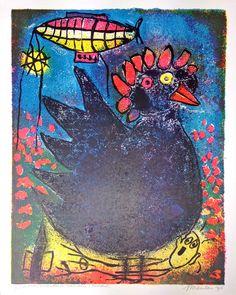 Expositie Jan van der Meulen 80 jaar bij Galerie Bax Kunst. Jan van der Meulen - Kip | Staaldruk 90 x 70 cm € 480,- | Tachtig schilderijen in de Galerie, Kunstencentrum Atrium & Theater Sneek | #art #contemporaryart #dutchartist #expo #Sneek #Baxkunst