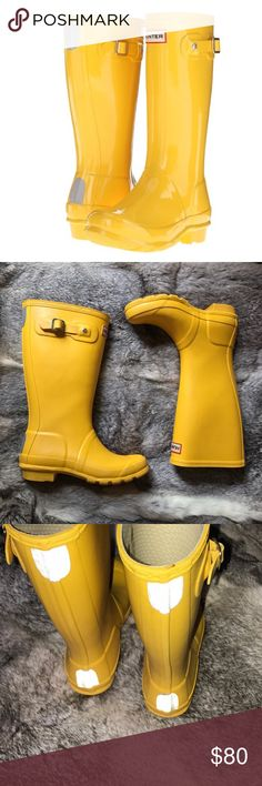Kids Hunter Yellow Rain Boots These have been preloved but have so much life left ! Such a great piece for your son or daughter ! ❤️ imperfections shown in photos above. Marker on the bottom of the shoe but that isn't anything serious when they are being worn. ☺️ reasonable and fair offers only and PLEASE asks as many questions before purchasing I want you to have a 5 ⭐️ experience with me ! 😘 Hunter Boots Shoes Rain & Snow Boots