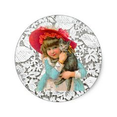 VINTAGE CHILD AND LACE - BEAUTIFUL TOUCH TO ALL CLASSIC ROUND STICKER - vintage gifts retro ideas cyo