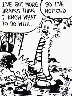 Calvin and Hobbes, DE's CLASSIC PICK of the day (8-20-14) - I've got more brains than I know what to do with. ...So I've noticed.