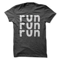 Run Run Run Tee T-Shirts, Hoodies. VIEW DETAIL ==► https://www.sunfrog.com/Fitness/Run-Run-Run-Tee-DarkGrey.html?id=41382