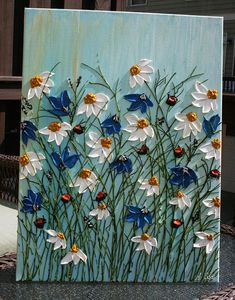 oh the places ill go Original Daisy Heavy Impasto Flowers Painting Palette Knife Technique Painting. This painting is of previous one that is sold. Your painting would be Daisy Painting, Acrylic Painting Flowers, Acrylic Painting For Beginners, Beginner Painting, Painting Edges, Acrylic Art, Acrylic Painting Canvas, Canvas Art, Painting Art