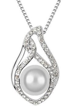 Xcrystal - Pearl Drop Crystal Necklace