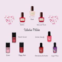 Try Valentine inspired shades of eco-friendly natural nail polish from Scotch Naturals, Suncoat, and Keeki Pure & Simple.