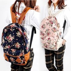 New Cute Fashion Casual Student Canvas Flower Floral Print School Bag Backpack
