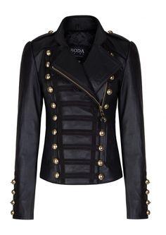 Napoleon Oil Black Gold Hardware Womens Leather Military Jacket - Boda Skins