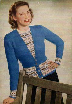 Free Vintage Fair Isle Twin Set knitting pattern from The Stitchcraft Twin Set book färgstickning mönsterstickning jumper cardigan