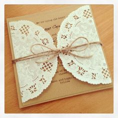 Dolly Wedding Invitation - Lace wedding invitation - Rustic wedding invitations - recycled kraft card on Etsy, $3.85 AUD