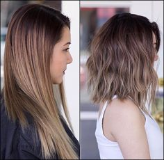 Nothing beats a fresh cut from 👊🏼 Love your new look ❤️ Balayage Brunette, Balayage Hair, Hair Styles 2016, Short Hair Styles, Cool Haircuts, Cool Hairstyles, Before And After Haircut, Celebrity Hair Stylist, Holiday Hairstyles