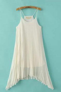 Love Love Love this Dress! Gorgeous White Irregular Hem Slip On Beach Dress #Beautiful #Comfy #Summer_White #Beach #Fashion