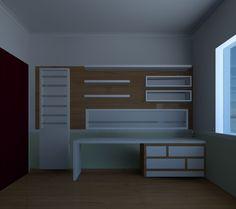 Residência em Itatiba, Bancada para estudos e mostruário de livros