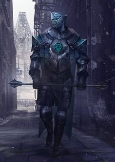 m Paladin Plate Armor Helm Cloak Mace male urban City street lg Fantasy Concept Art, Fantasy Images, Fantasy Armor, Fantasy Character Design, Dark Fantasy, Character Art, Character Concept, Dnd Characters, Fantasy Characters