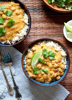 Slow Cooker Pumpkin, Red Lentil, and Chickpea Curry recipe - Creamy, hearty, and full of flavor, this vegan Crock Pot recipe is so easy to assemble. A perfect weeknight dinner for fall (or any season!)