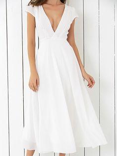Cap Sleeve Plunging Neck High Slit Women's Midi Dress (WHITE,S)   Sammydress.com