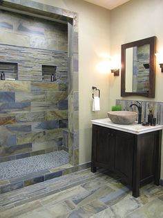 Rustic Slate Bathroom with many different formats and sizes!