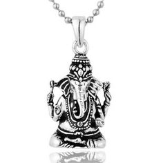 Men's 925 Sterling Silver Thai Ganesh Hindu God Charms Pendant Necklace - Zivpin