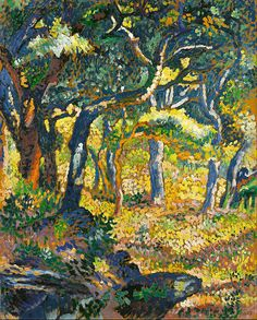 Henri Edmond Cross (1856-1910). Clearing in Provence. 1906. Oil on paper mounted on canvas. 22.2 x 17.3. Israel Musuem, Jerusalem.