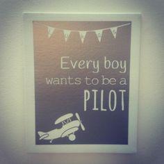Canvasdoek kinderkamer 24x30cm met tekst: Every boy wants to be a pilot #handgemaakt #handmade #canvas #silver #zilver #grijs #vinyl #kinderkamer #piloot #pilot #jongenskamer #meisjeskamer #EveryBoyWantsToBeAPilot