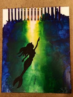 16 x 20 melted crayons canvas with painted by KraftsWithKaity, $40.00