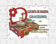 Cocinita en madera con accesorios.  laranarenata.com.ar