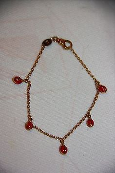 Aaron Basha 18K Yellow Gold bracelet all red dangling ladybug  with 5 stations - http://designerjewelrygalleria.com/aaron-basha/aaron-basha-18k-yellow-gold-bracelet-all-red-dangling-ladybug-with-5-stations-2/