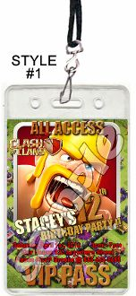 CLASH OF CLANS VIP PASSES WITH LANYARDS BIRTHDAY INVITATIONS