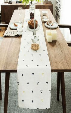Black And Yellow Triangles Table Runner