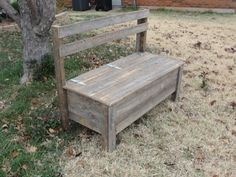 Wooden Bench with Storage to have guests sign as a guest book for the wedding Wooden Bench Seat, Rustic Wooden Bench, Wooden Storage Bench, Bench With Storage, Wooden Diy, Barn Wood Projects, Pallet Projects, Diy Projects, Learn Woodworking