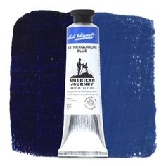 "American Journey Artists' Acrylic, Anthraquinone Blue is a deep transparent blue similar in hue to ultramarine, though somewhat duller. This blue is the color of a night sky or shadows and is a very dark, reddish, semi-opaque blue. This warm blue gives you the classic ""Navy Blue Suit"" color and may create stormy skies. Available in a 60 ml. tube. #ArtSupplies #AcrylicPainting #Acrylic"