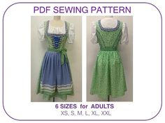Dirndl pattern PDF sewing pattern 6 sizes Dirndl Oktoberfest costume pattern Dirndl Schnittmuster Au