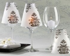 Damask Vellum Wine Glass Shades - Wedding Decorations  $19 for 24 but couldn't you print a damask design on vellum and cut out your own?