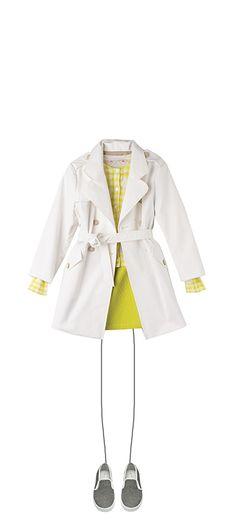 Scoop trench coat Milk White Gingham cardigan Acid yellow Alizée skirt Acid Yellow Slip-on shoes Black