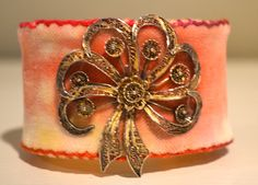 Velvet Cuff Vintage Jewelry Embroidered Cuff Bracelet Hand Dyed Velvet Cottage Chic Preppy Fall Winter Orange Yellow Gypsy Eclectic Teachers by PamGeorgeQuilts on Etsy https://www.etsy.com/listing/207319639/velvet-cuff-vintage-jewelry-embroidered