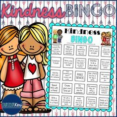 """Thank you so much for following my little TpT store! To say thanks, I'm adding this Kindness Bingo for free! It includes 4 unique bingo cards. I give these to students following a kindness character ed lesson and tell them that when they get """"bingo"""" (or a blackout for older students!), they can bring it to my office for a celebration!"""